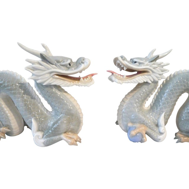 Asian Vintage Japanese Porcelain Dragons - A Pair For Sale - Image 3 of 5
