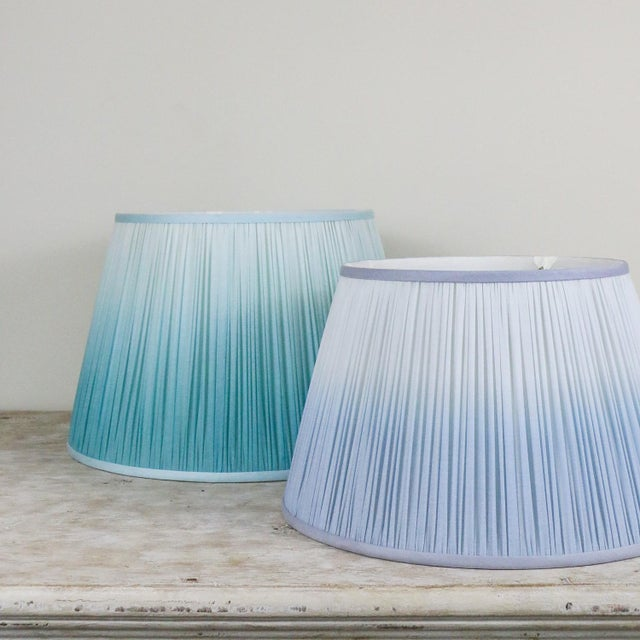 """Pleated Printed Shade with Border 14"""" Turquoise and Navy For Sale In Charlotte - Image 6 of 7"""