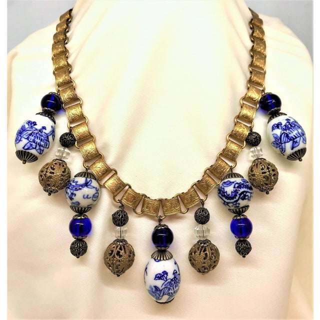Blue Chinese Blue and White Porcelain Bead and Brass Bookchain Necklace For Sale - Image 8 of 9