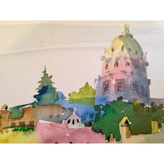Scenic Italian Hilltop Town Watercolor Painting For Sale