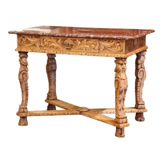 19th Century French Louis XIV Carved Bleached Oak Table Desk With Red Marble Top For Sale