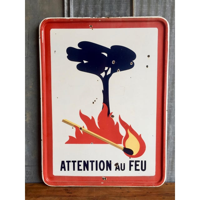 """Antique French Sign """"Attention Au Feu"""" - Image 2 of 8"""