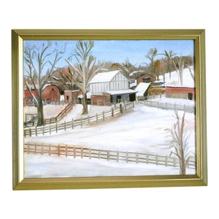 """""""Barns in Snow"""" Midwest Landscape Plein Air Oil Painting For Sale"""