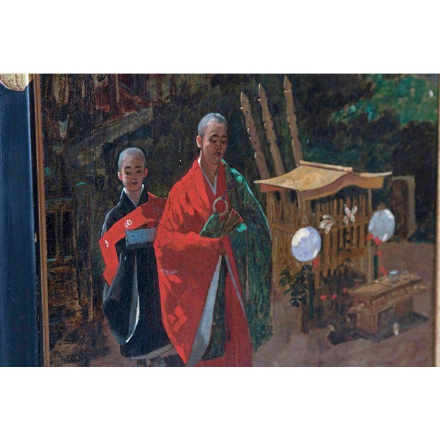 Late 19th Century Francis Neydhart Oil on Canvas Japanese Monks in a Landscape For Sale - Image 4 of 13