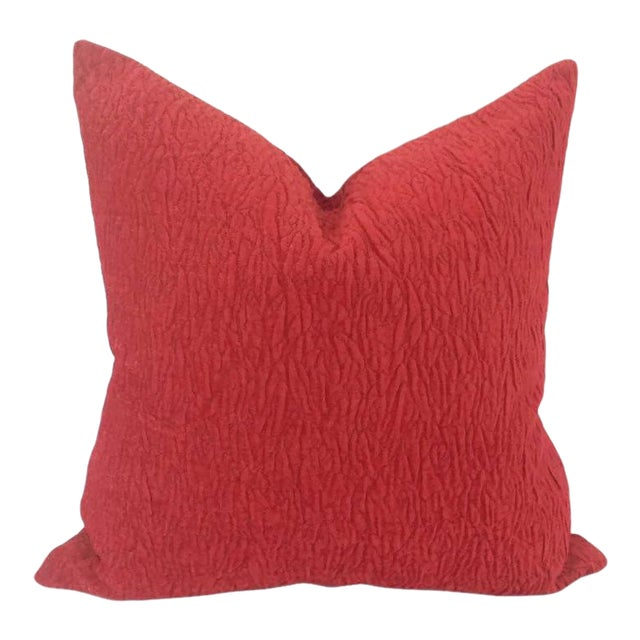 Donghia Rugoso Puckered Chenille Pomodoro Red Pillow Cover For Sale
