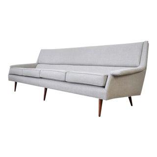 Milo Baughman for Thayer Coggin Walnut Gray Sofa For Sale