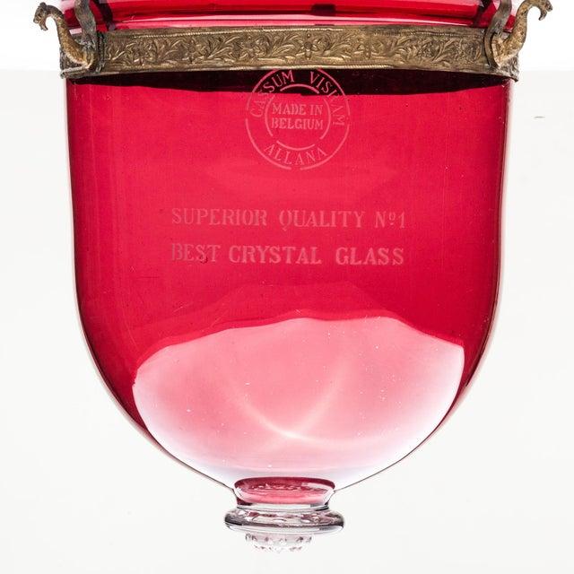 Late 20th Century Cassum Visram Allana Belgian Ruby Red Hundi Crystal Lantern For Sale - Image 5 of 6