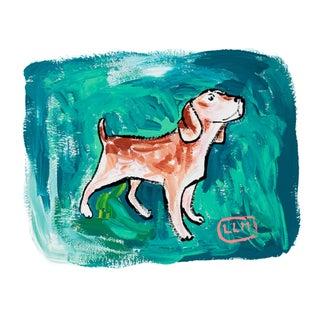 Dog Portrait on Green, Original Lara Meintjes Painting For Sale
