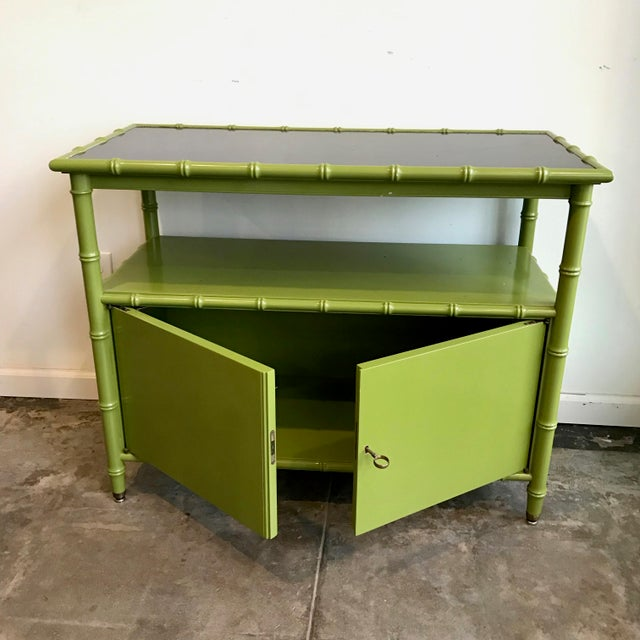 Chinoiserie Avocado Green Faux Bamboo Cabinet/Bar Cabinet For Sale - Image 4 of 8