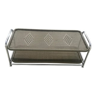 1990s Boho Chic Faux Wicker and Chrome Coffee Table For Sale
