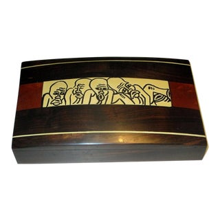 Boho Chic Rosewood and Exotic Woods Dresser Box For Sale