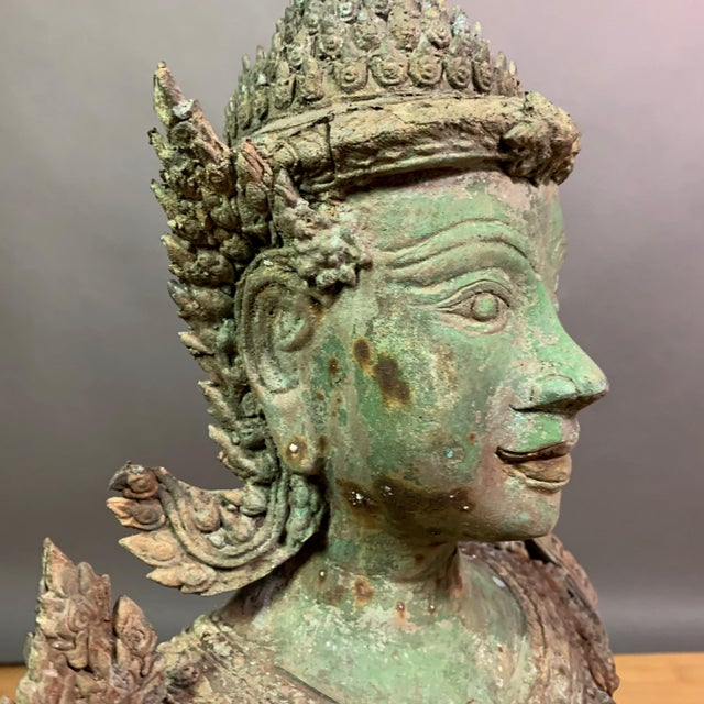 "Bronze Early 1900s Mythologic Thepphanom Angel 30"" Bronze Statue, Thailand For Sale - Image 7 of 12"