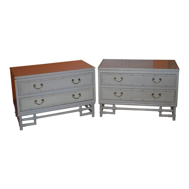 1960s Hollywood Regency Ficks Reed Matching Nightstands - a Pair For Sale