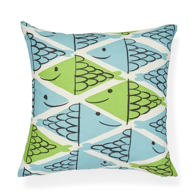 """This 18"""" x 18"""" pillow features Fish School in Aqua & Leaf. This painterly, two-tone fish pattern is the embodiment of Vera..."""