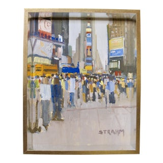 Contemporary Modern Times Square Ny Cityscape Original Painting by Paul Strahm For Sale