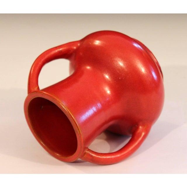 Awaji Pottery Japanese Art Deco Vase Crystalline Chrome Orange Red Glaze For Sale - Image 4 of 11
