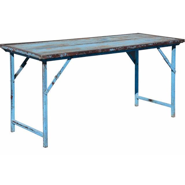 Vintage Blue Wood & Steel Folding Table - Image 1 of 4
