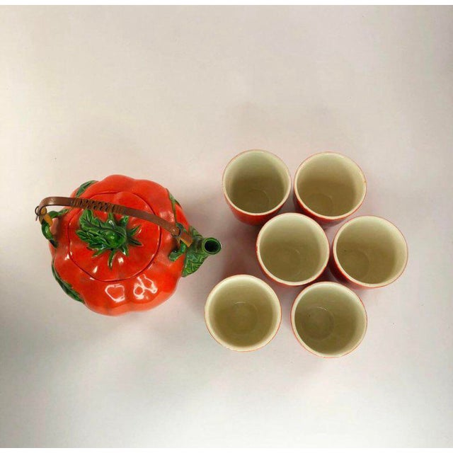 1960s 1960s Mid-Century Japanese Tomato Teapot & Cups - Set of 7 For Sale - Image 5 of 8