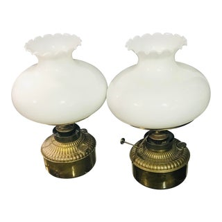 Antique 1900s Electrified 2 Brass White Globe Lamps - a Pair For Sale