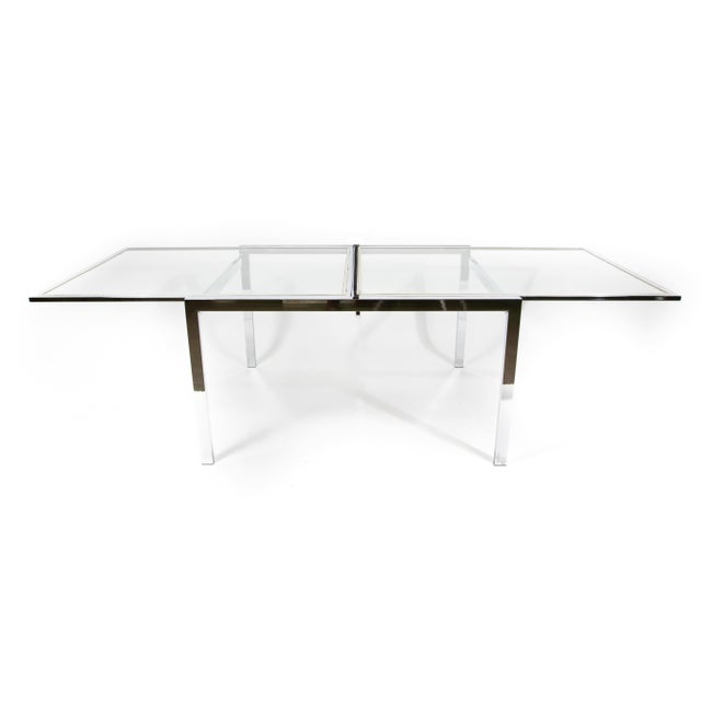 1950s Modern Milo Baughman Nickel Plated Glass Expansion Table For Sale - Image 10 of 10
