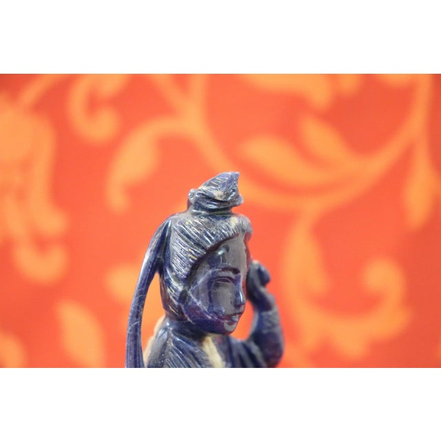 Blue 20th Century Chinese Sculpture in Lapis Lazuli Geisha Figure For Sale - Image 8 of 10
