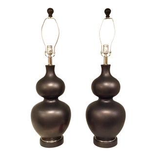 Modern Dark Metal Glaze Pair of Gourd Table Lamps