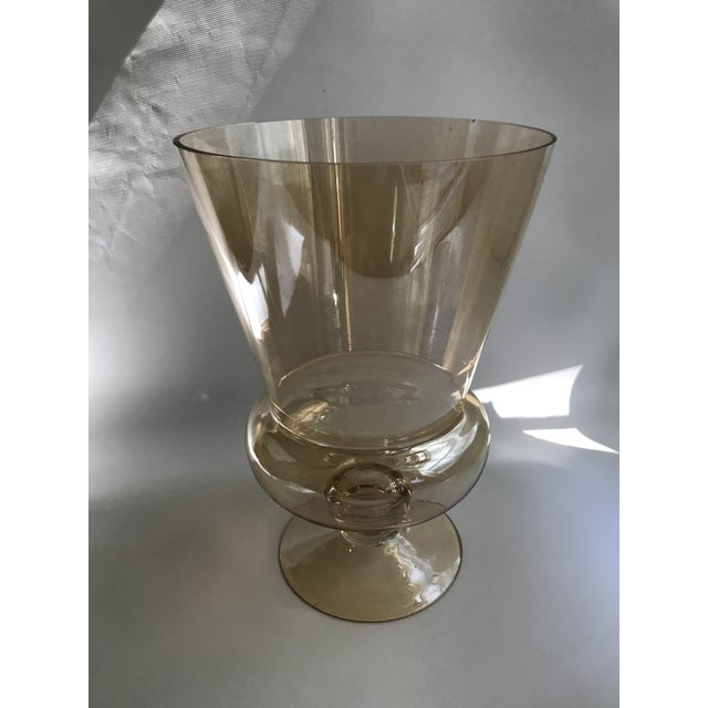 Glass Large Footed Amber Glass Vase For Sale - Image 7 of 7