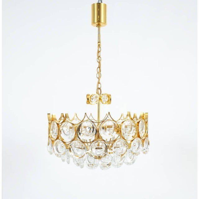 """Palwa pair of petite gold brass glass chandeliers lamps refurbished, 1960. Charming 15"""" gold-plated petite chandeliers...."""
