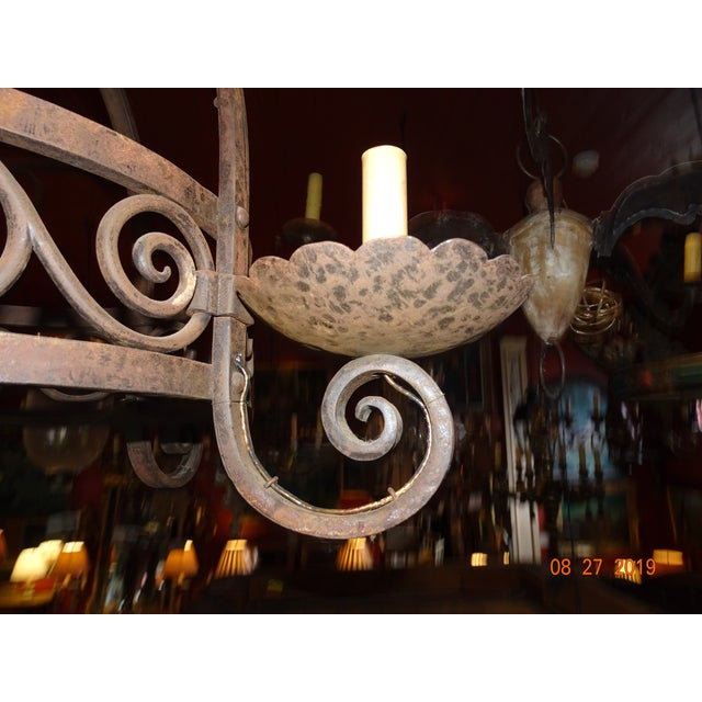 Burnt Umber Vintage French Wrought Iron Chandelier For Sale - Image 8 of 12