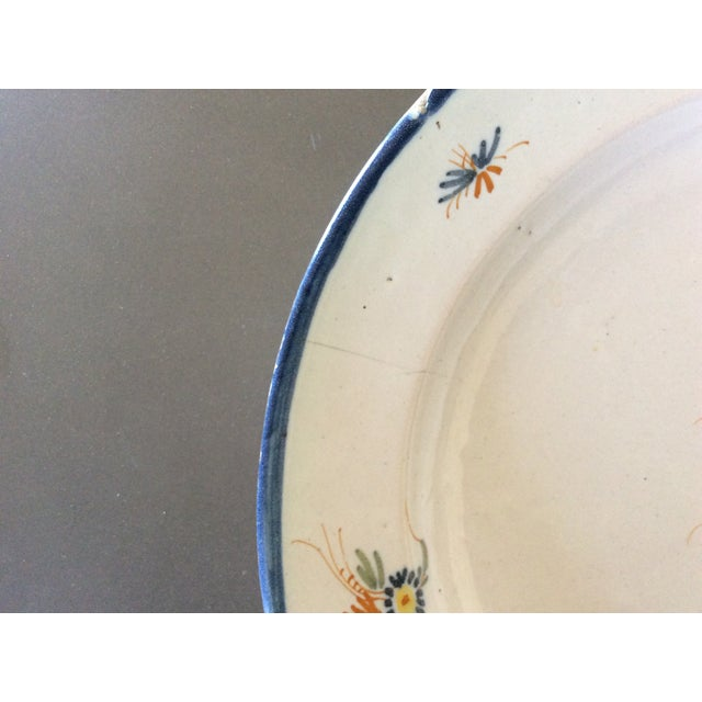 Mid 19th Century Antique Blue & Yellow Provence Platter For Sale - Image 5 of 8