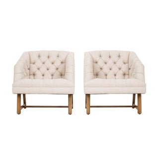 1960s Mid-Century Modern Harvey Probber White Lounge Chairs - a Pair