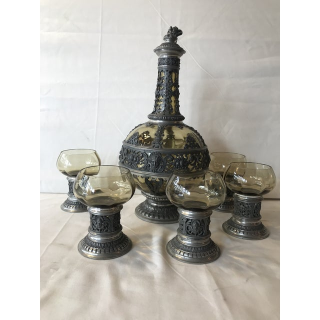 1920s Italian Wine Decanter & Glasses - Set of 6 For Sale - Image 12 of 13