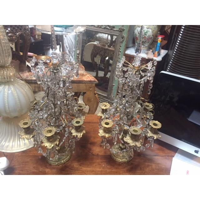Early 19th Century French Dore Bronze & Crystal Girandoles - a Pair For Sale - Image 12 of 12