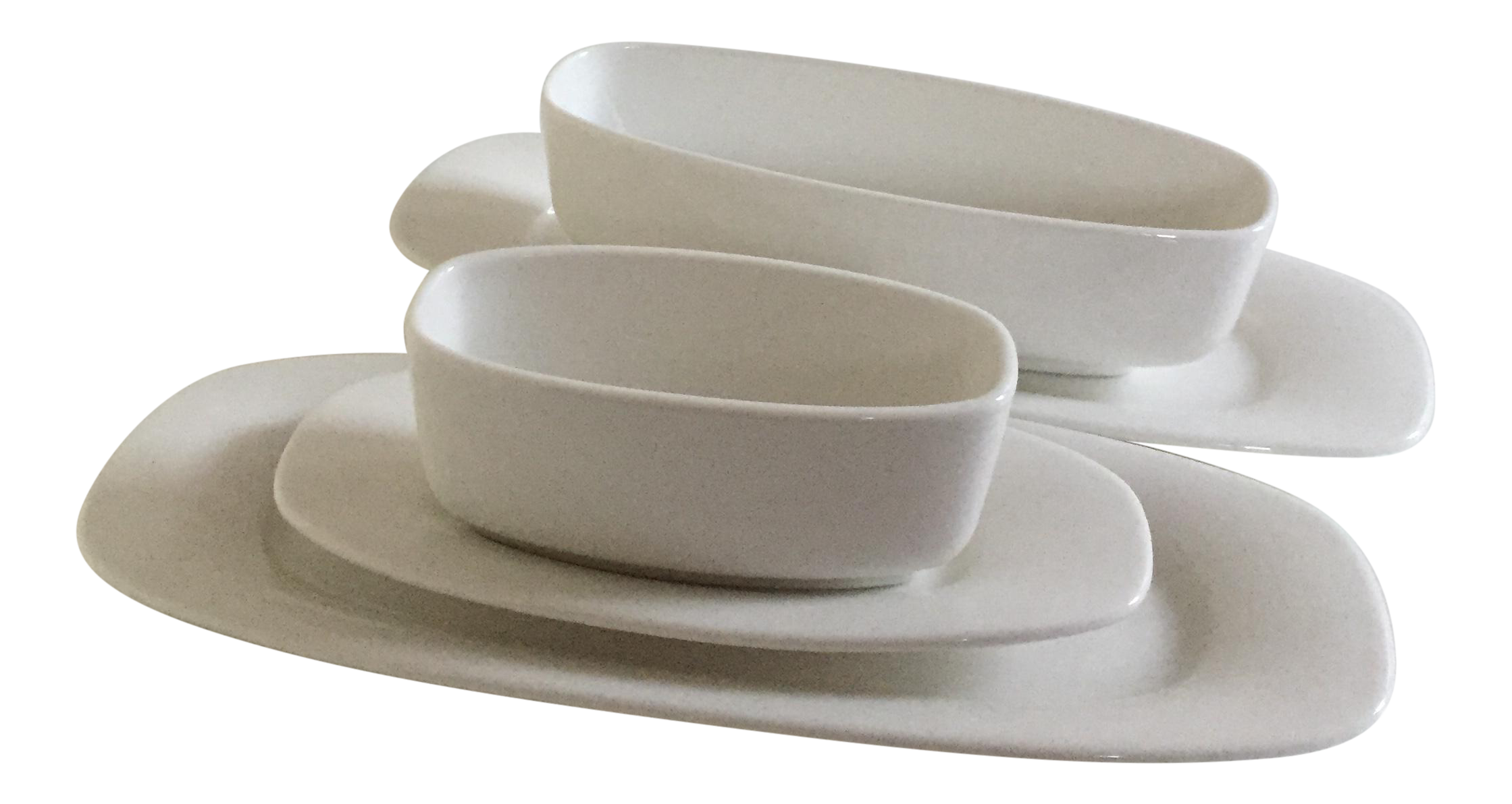 Villeroy u0026 Boch Affinity White Premium Porcelain Oval Plates u0026 Sides Dishes - Set of 5 | Chairish  sc 1 st  Chairish : oval dinnerware sets - pezcame.com