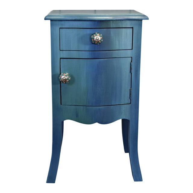 Small Bohemian Blue Painted Cabinet For Sale