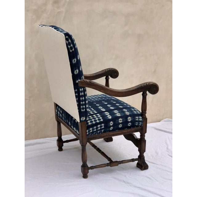 Late 19th Century 19th Century French Oak Carved Armchair W/ Mali Indigo Textile For Sale - Image 5 of 13