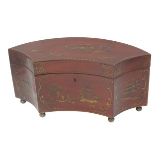 Red Lacquer Tea Caddy For Sale
