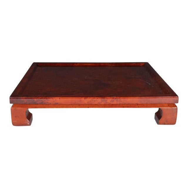 Enrique Garcel Mid-Century Modern Lacquered Goatskin Pagoda Style Bar Tray For Sale