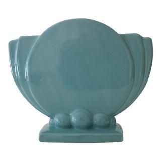 1960s Art Deco Aqua Ceramic Vase For Sale