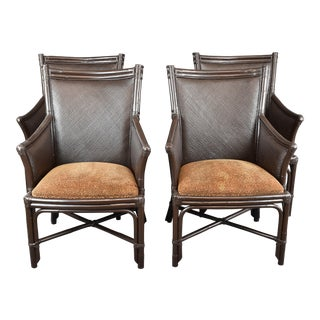Vintage Mid-Century Modern Bentwood Bamboo Rattan Armchairs - Set of 4 For Sale
