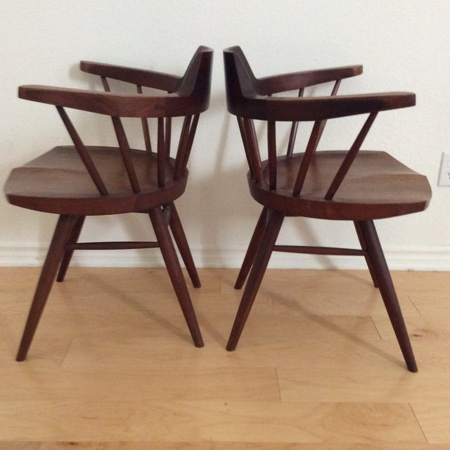 Mid-Century Modern 1950s Vintage Signed Nakashima Walnut Captain's Chairs - a Pair For Sale - Image 3 of 9