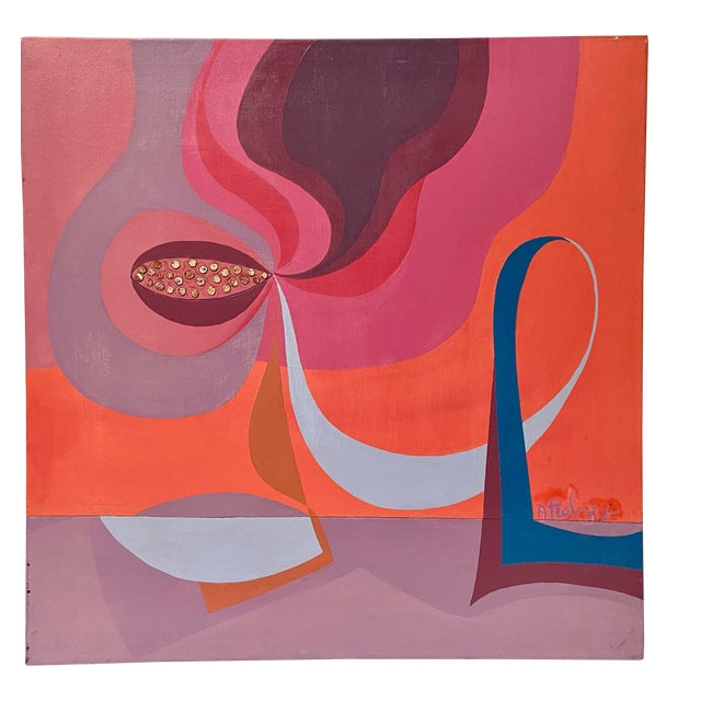1970s Vintage Modernist Abstract Still Life Oil by Annette Robyns For Sale