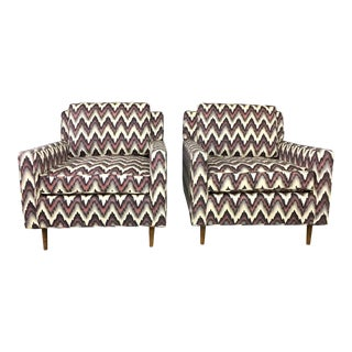 Mid-Century Modern Flame Stitch Cube Chairs - A Pair