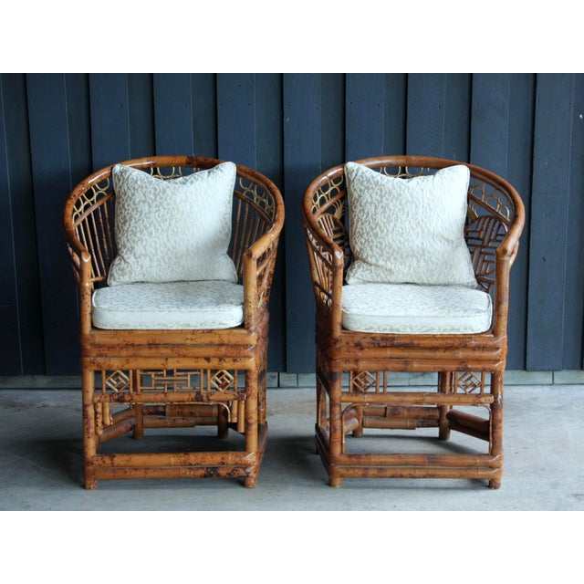 Pair of Brighton Pavillion Bamboo Chairs With Table, Set of 3 For Sale In Dallas - Image 6 of 13