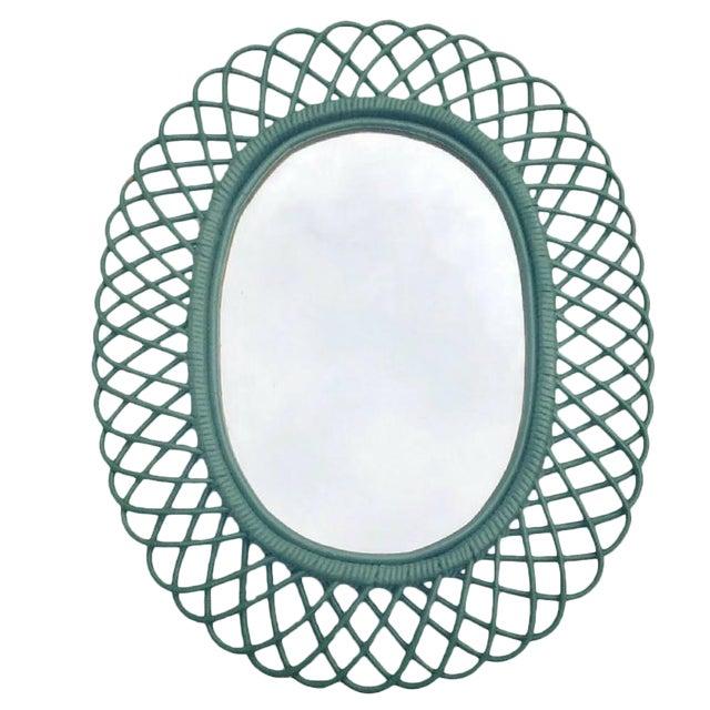 "Mid Century Bent Bamboo Wall Mirror Italian 31"" - Image 1 of 10"