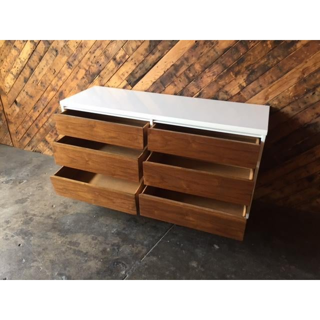 Lacquer Mid Century Refinished Walnut/White Lacquer 6 Drawer Dresser For Sale - Image 7 of 7