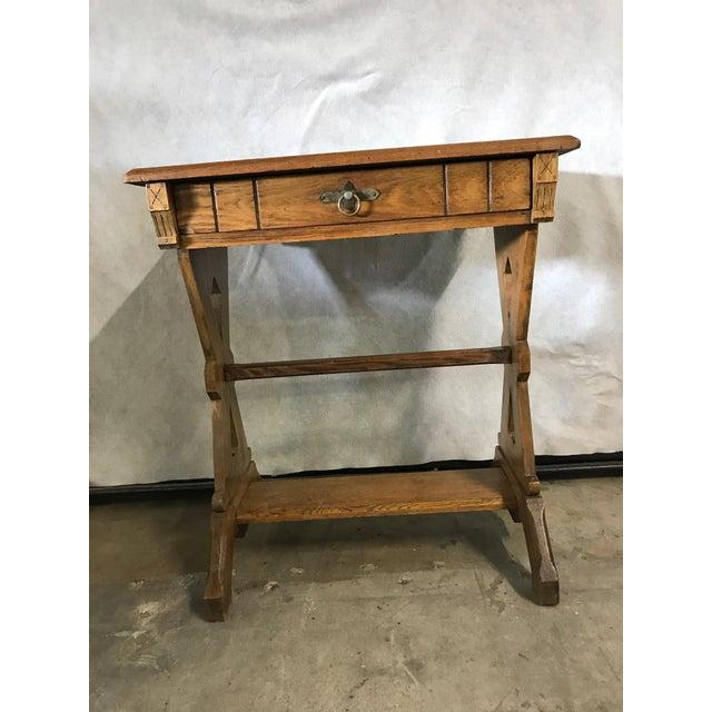 Oak 1920s Hudson River School Oak Trestle Writing Table For Sale - Image 7 of 7