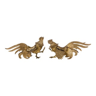 Fighting Brass Roosters - a Pair For Sale