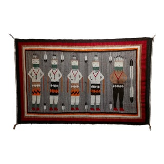 Navajo Vintage Yei be Chei Pictorial Rug -Hand Woven Wool -c1920s For Sale