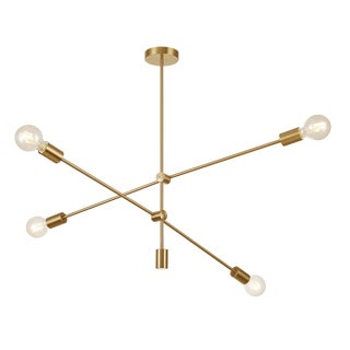 Pasargad Home Modern Gold Sputnik Chandelier 4 Lights Brass Plating For Sale